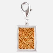 WOVEN STRAW Silver Portrait Charm