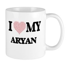 I Love my Aryan (Heart Made from Love my word Mugs