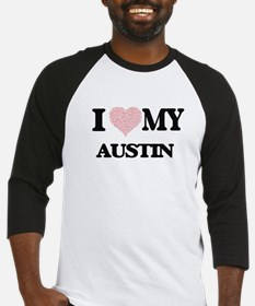 I Love my Austin (Heart Made from Baseball Jersey
