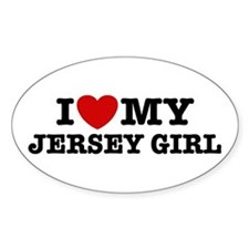 I Love My Jersey Girl Oval Decal