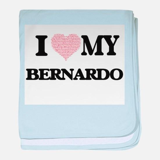 I Love my Bernardo (Heart Made from L baby blanket