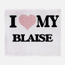 I Love my Blaise (Heart Made from Lo Throw Blanket