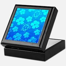 Blue Honu And Tropical Flowers Keepsake Box