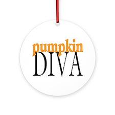Pumpkin Diva Ornament (Round)