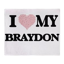 I Love my Braydon (Heart Made from L Throw Blanket