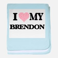 I Love my Brendon (Heart Made from Lo baby blanket