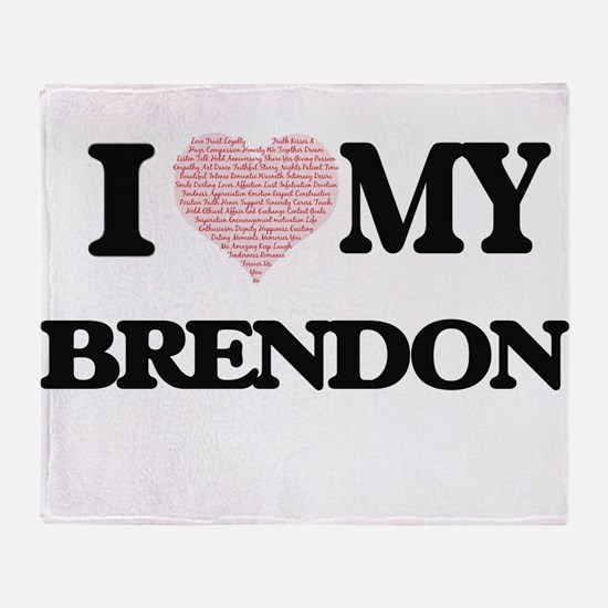 I Love my Brendon (Heart Made from L Throw Blanket