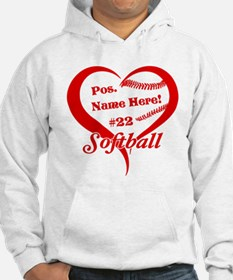 Baseball Heart Player Personalized Red Hoodie