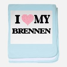 I Love my Brennen (Heart Made from Lo baby blanket