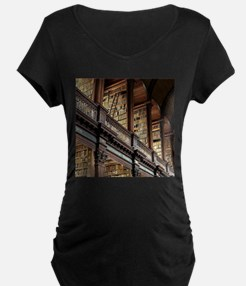 Classic Literary Library Books Maternity T-Shirt