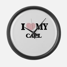 I Love my Cael (Heart Made from L Large Wall Clock