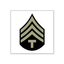 "Funny Army rank Square Sticker 3"" x 3"""