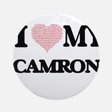 I Love my Camron (Heart Made from L Round Ornament