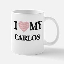 I Love my Carlos (Heart Made from Love my wor Mugs