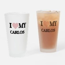 I Love my Carlos (Heart Made from L Drinking Glass