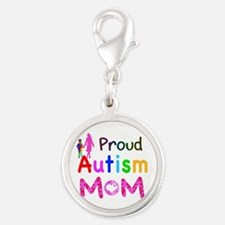 Proud Autism Mom Silver Round Charm