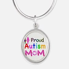 Proud Autism Mom Silver Oval Necklace
