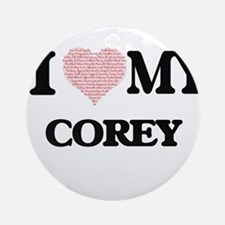 I Love my Corey (Heart Made from Lo Round Ornament