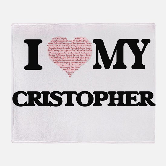 I Love my Cristopher (Heart Made fro Throw Blanket