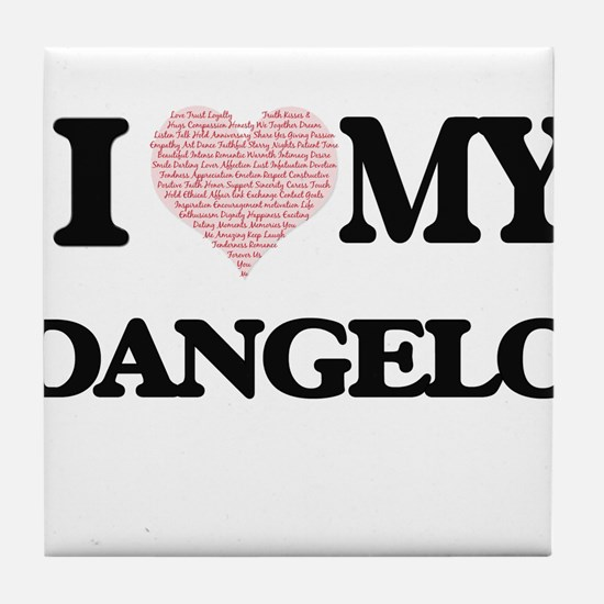 I Love my Dangelo (Heart Made from Lo Tile Coaster