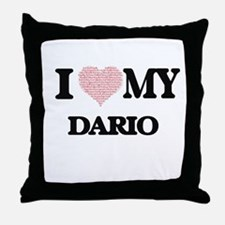 I Love my Dario (Heart Made from Love Throw Pillow