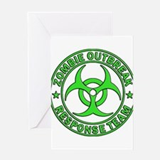 Zombie Outbreak Response Team green Greeting Cards
