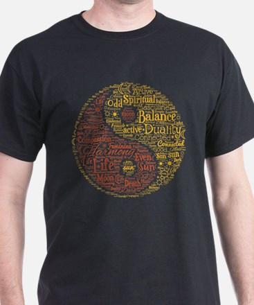 Yin Yang Spiritual Word Art T-Shirt