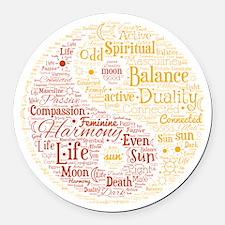 Yin Yang Spiritual Word Art Round Car Magnet