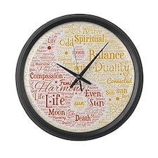 Yin Yang Spiritual Word Art Large Wall Clock