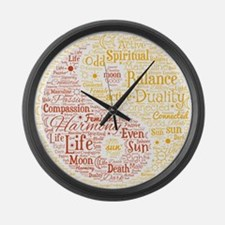 Yin Yang Spiritual Word Art Large Wall Clock