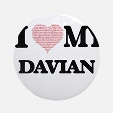 I Love my Davian (Heart Made from L Round Ornament