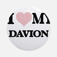 I Love my Davion (Heart Made from L Round Ornament