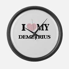 I Love my Demetrius (Heart Made f Large Wall Clock