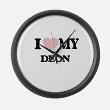 I Love my Deon (Heart Made from L Large Wall Clock