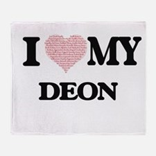 I Love my Deon (Heart Made from Love Throw Blanket
