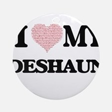 I Love my Deshaun (Heart Made from Round Ornament