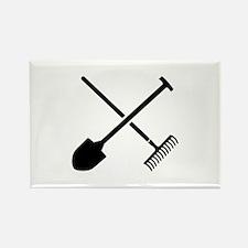 Black shovel rake Rectangle Magnet