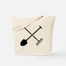 Black shovel rake Tote Bag
