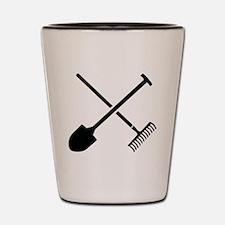 Black shovel rake Shot Glass