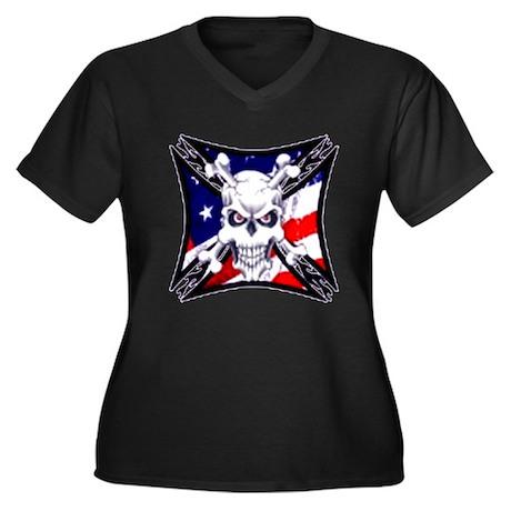 American Pride Women's Plus Size V-Neck Dark T-Shi