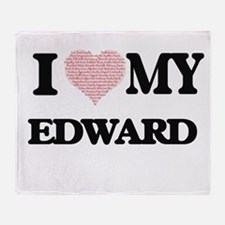 I Love my Edward (Heart Made from Lo Throw Blanket