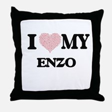 I Love my Enzo (Heart Made from Love Throw Pillow