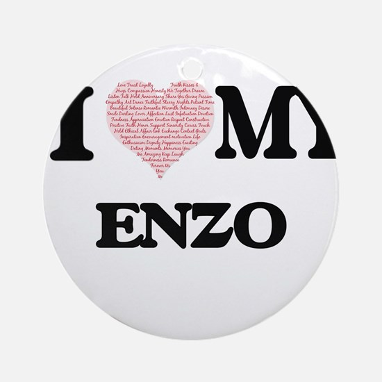 I Love my Enzo (Heart Made from Lov Round Ornament
