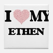 I Love my Ethen (Heart Made from Love Tile Coaster