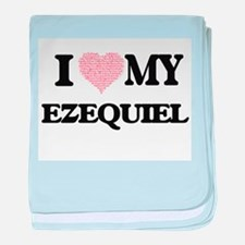 I Love my Ezequiel (Heart Made from L baby blanket