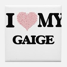 I Love my Gaige (Heart Made from Love Tile Coaster