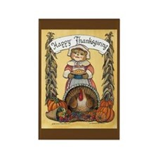 Thanksgiving Pilgrim, Female Rectangle Magnet