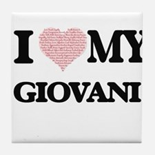 I Love my Giovani (Heart Made from Lo Tile Coaster