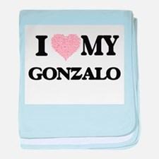 I Love my Gonzalo (Heart Made from Lo baby blanket
