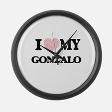 I Love my Gonzalo (Heart Made fro Large Wall Clock